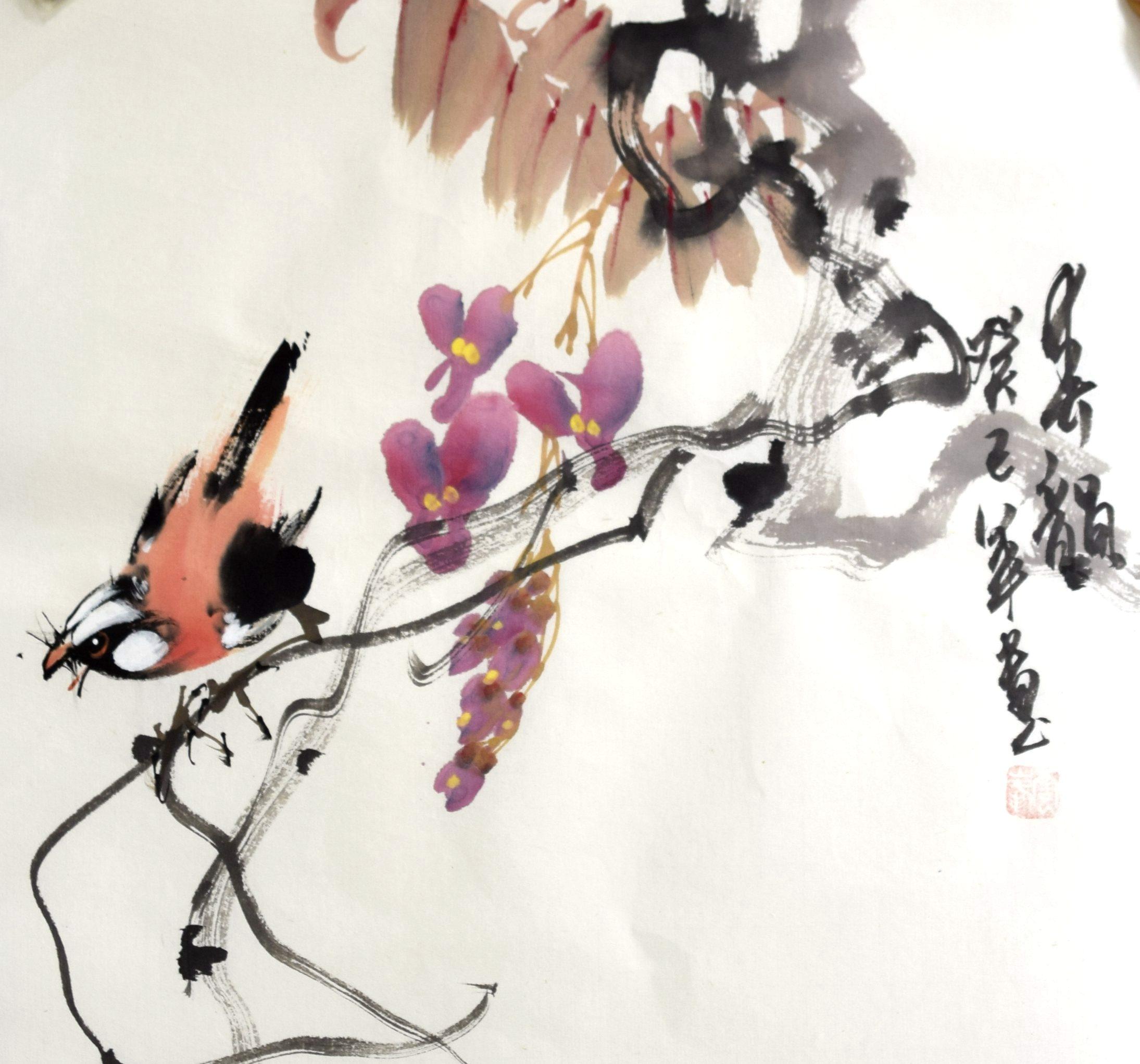手绘水墨国画花鸟中堂横幅字画客厅玄关小品斗方书画作品特价e-32图片