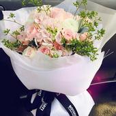 杭州鲜花速递同城花店配送满天星绣球玫瑰混搭花束生日鲜花送爱人