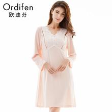 商场同款 欧迪芬 女士家居服长袖连体睡衣蕾丝纯色睡裙OH7632图片