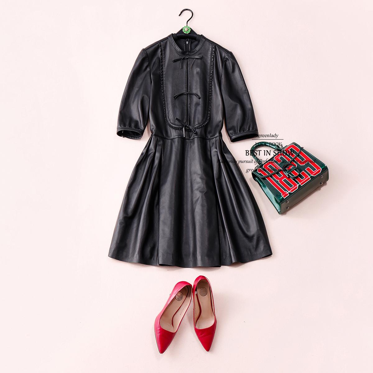 罗马高定华美小羊皮精致蝴蝶结木耳边名媛范黑色连衣裙D711222