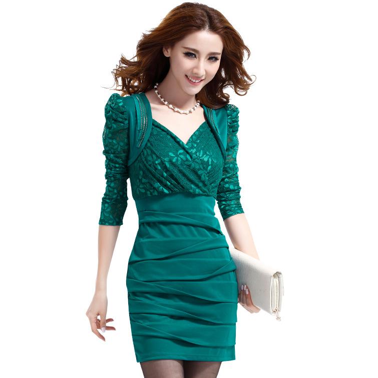 2016女装春季新品连衣裙都市白领气质修身裙显瘦包臀蕾丝中长裙子