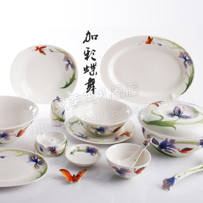 创意高档欧式碗勺套装陶瓷餐具汤盘酒店用品手工艺品