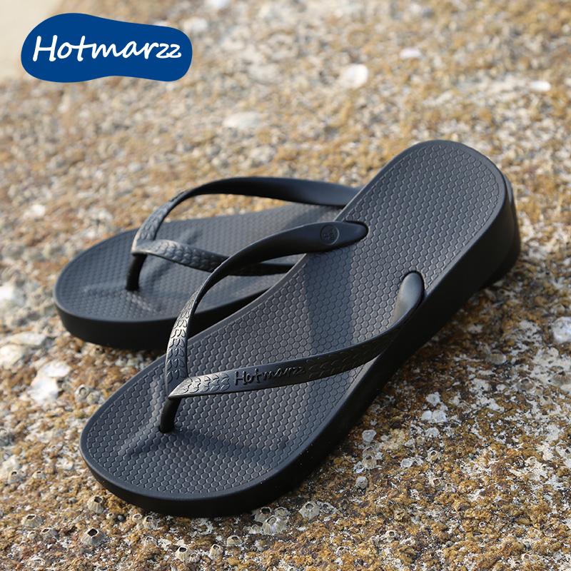 hotmarzz 坡跟人字拖鞋女厚底沙滩鞋防水台纯色高跟夹脚凉拖鞋夏
