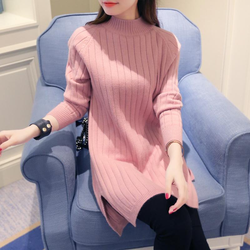 2016秋装新款韩版女装针织衫外套秋冬中长款半高领宽松套头毛衣裙