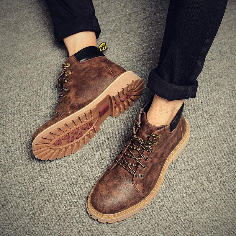 男鞋冬季马丁靴男加绒保暖棉靴雪地短靴沙漠靴英伦皮靴工装靴男靴