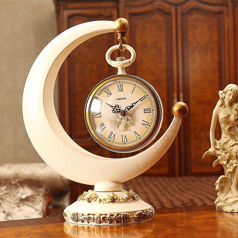 丽盛欧式座钟月牙时尚台钟艺术客厅摆件时钟创意现代