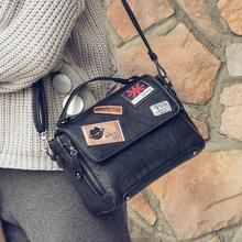 阿伊凡2016冬新款欧美小方包时尚斜挎包包女包徽章包单肩女手提包