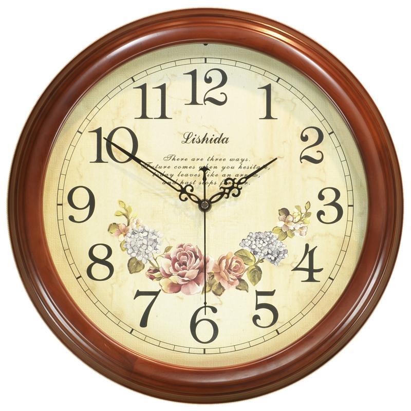 客厅美式复古木质时钟时尚