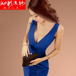 气质性感夜店女装深v领低胸包臀修身无袖收腰紧身短裙修身连衣裙