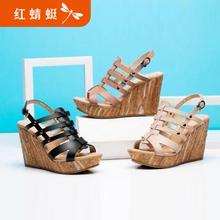 红蜻蜓凉鞋正品夏季新款真皮坡跟罗马女鞋厚底高跟鞋中跟凉鞋清仓图片