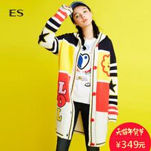 艾格 ES 休闲时尚可爱俏皮混编拼色针织开衫女16031605821图片