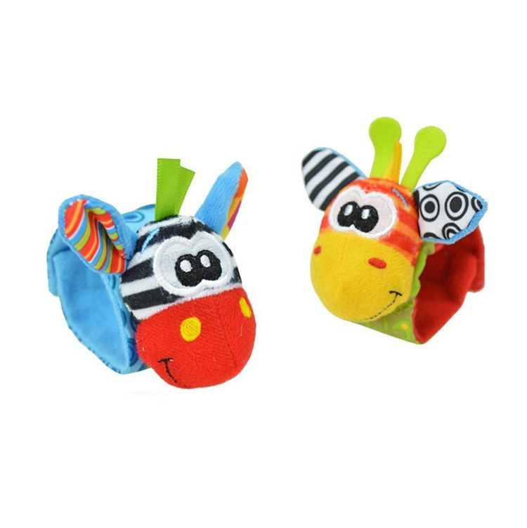 儿童宝宝0-3个月动物立体手腕表带摇铃响铃袜套袜子