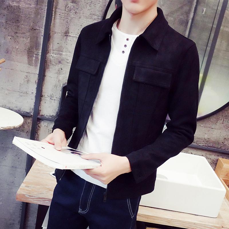 35y韩版男士休闲加厚外套潮男修身鹿绒皮夹克 青少年加绒翻领夹克