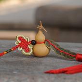 天然小葫芦挂件中国结五帝钱招财辟邪葫芦摆件镇宅风水家居工艺品