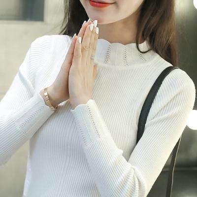 秋冬新款韩版花边套头毛衣女长袖短款针织衫半高领修身打底衫上衣