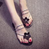 韩版2017夏季花朵凉拖鞋平底平跟拖鞋学生人字拖套趾沙滩鞋女鞋