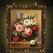 饰古典花卉餐厅挂画玄关有框画三联 壁画纯手绘油画现代欧式客厅装