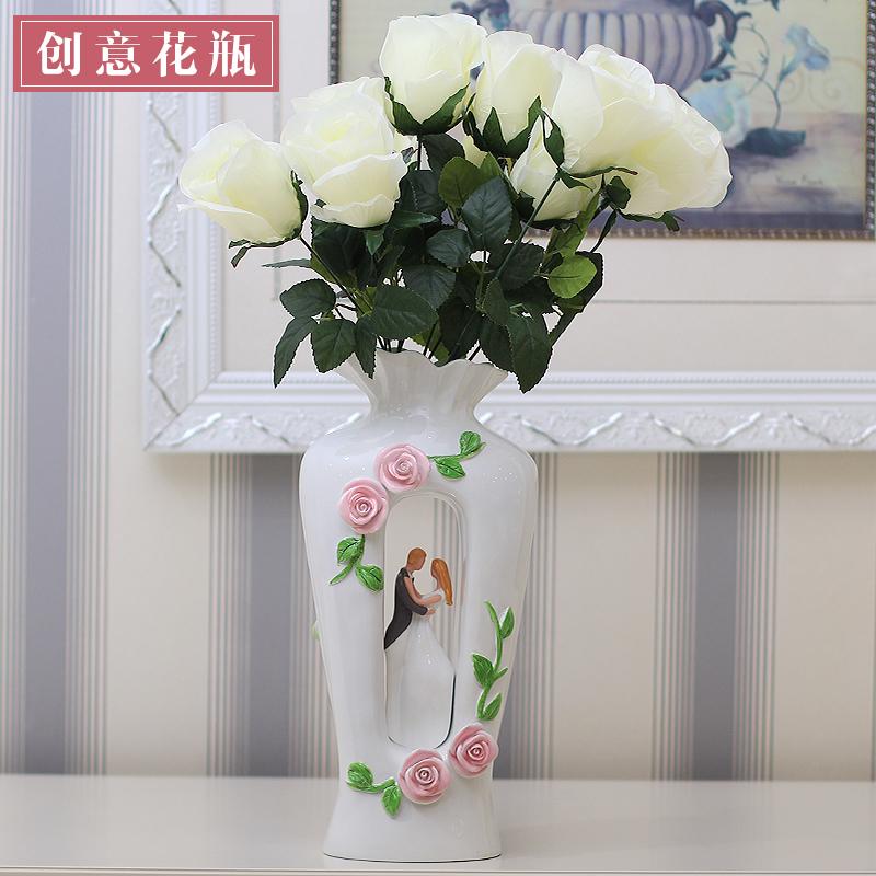 欧式花瓶创意仿真花器客厅插花餐桌家居电视柜装饰品
