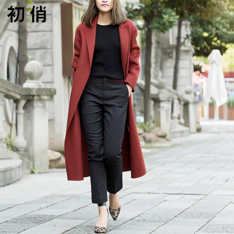 長款羊毛外套手工氣質大衣紅色雙面女冬中毛呢