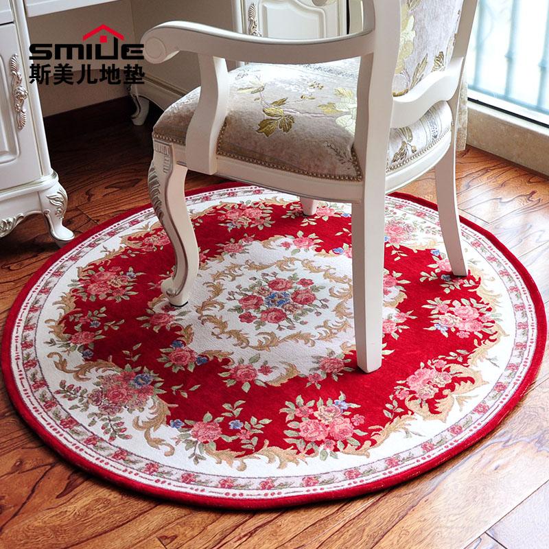 欧式复古圆形地垫毯 田园电脑椅垫