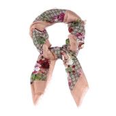 GUCCI古琦混合材质经典双Glogo天竺葵印花女士围巾