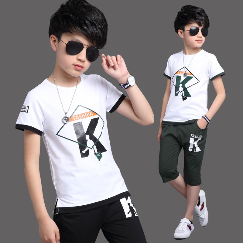 男童夏装套装2017新款11-13周岁大童12韩版夏季童装儿童短袖潮衣
