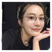 新款韩国时尚半金边框眼镜女网红眼镜圆形透明细边金丝明星男框架