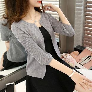 春夏季新款女装韩版百搭宽松薄针织衫女开衫小外套上衣短款小披肩