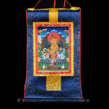 特价包邮 佛教用品批发 镀金唐卡佛像挂画黄财神赞巴拉 长80cm蓝