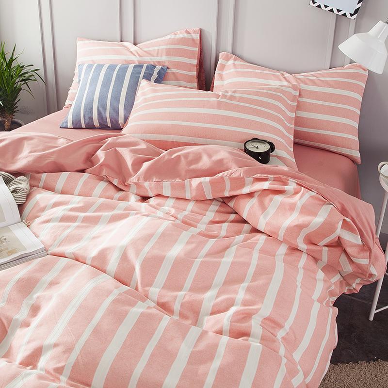 条纹全棉四件套纯棉床上床单被套学生领券减床笠简约格子