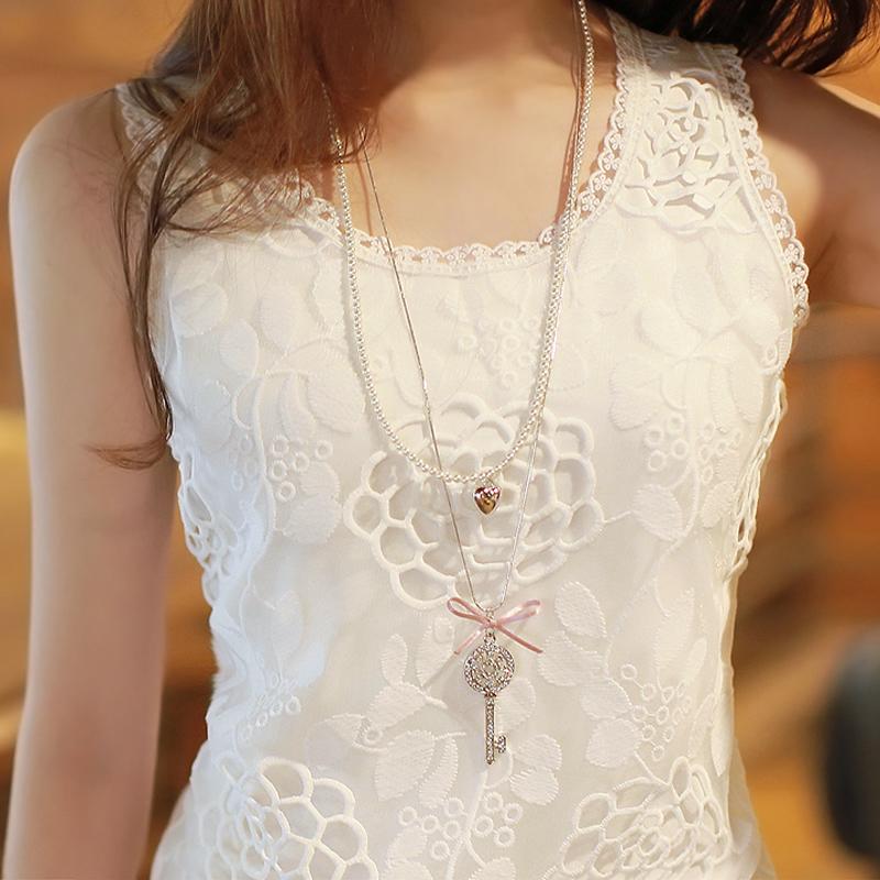 蕾丝女装白色女士修身背心工字外穿吊带纯色打底