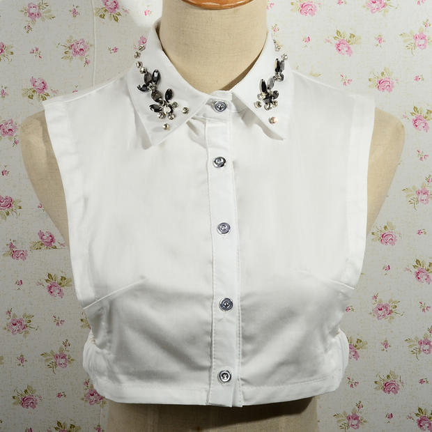 士配饰衬衫式小衬衣尖领圆领水钻 女领子子短款假领 装饰
