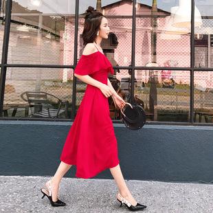 2017新款韩版气质chic长裙夏季荷叶袖一字肩露肩红色吊带连衣裙女