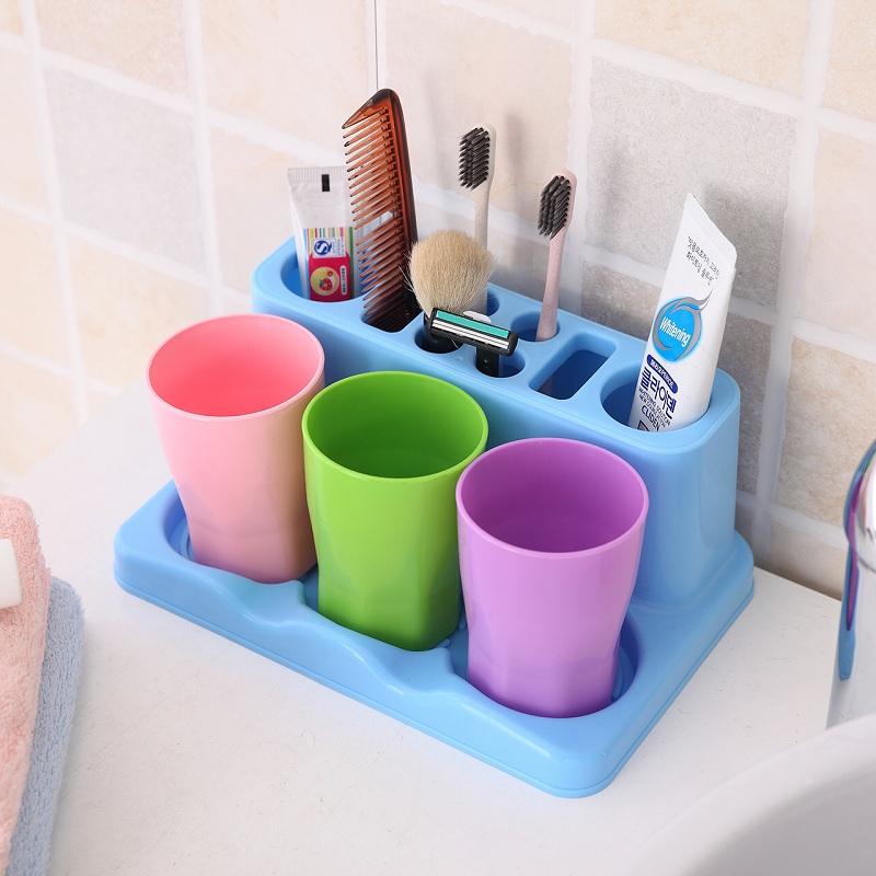 三口之家洗漱套装创意牙膏盒牙刷架漱口杯可拆卸牙膏牙具刷牙杯