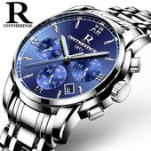 瑞之缘手表男士运动石英非机械防水时尚潮流夜光精钢带男表手腕表