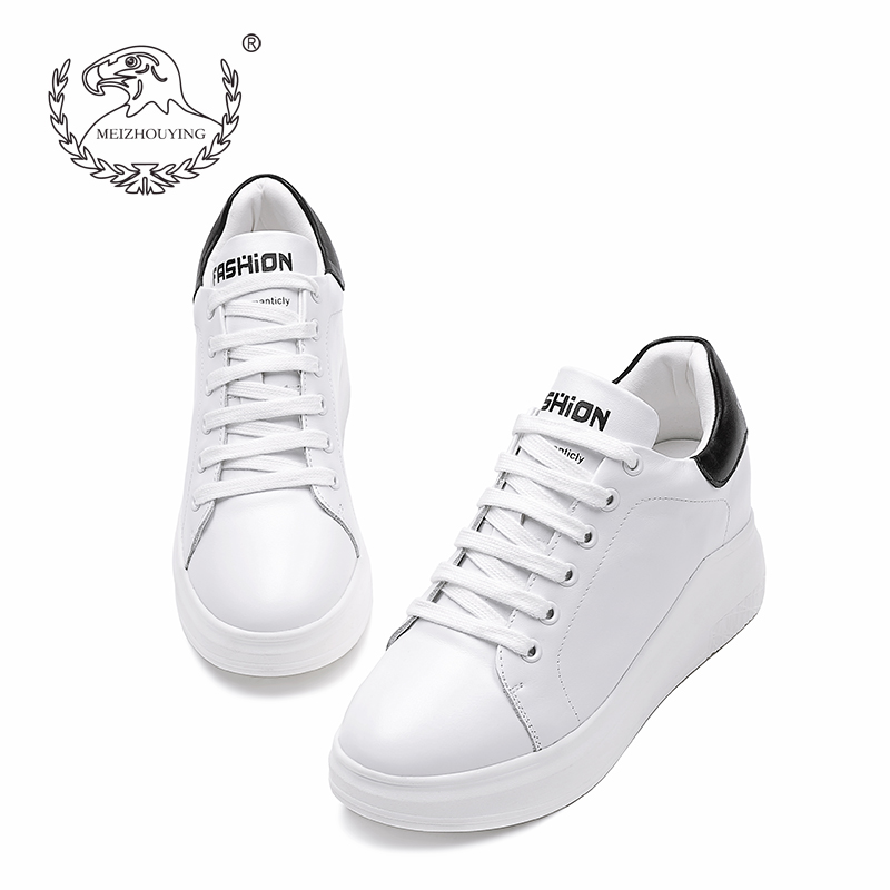 小白鞋女内增高 真皮2017新款 百搭厚底休闲运动单鞋白色板鞋