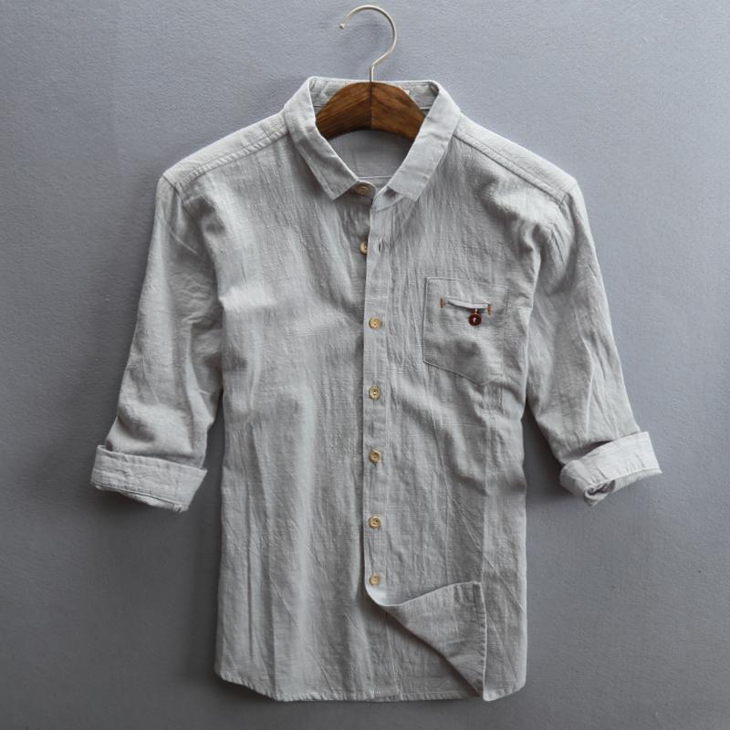 棉麻料夏季水洗襯衣麻布亞麻襯衫修身七分袖男士