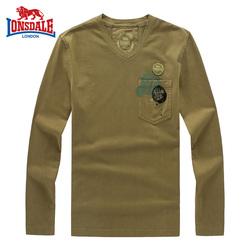 龙狮戴尔正品男士长袖V领T恤男装2017春季新款宽松T恤秋装潮牌