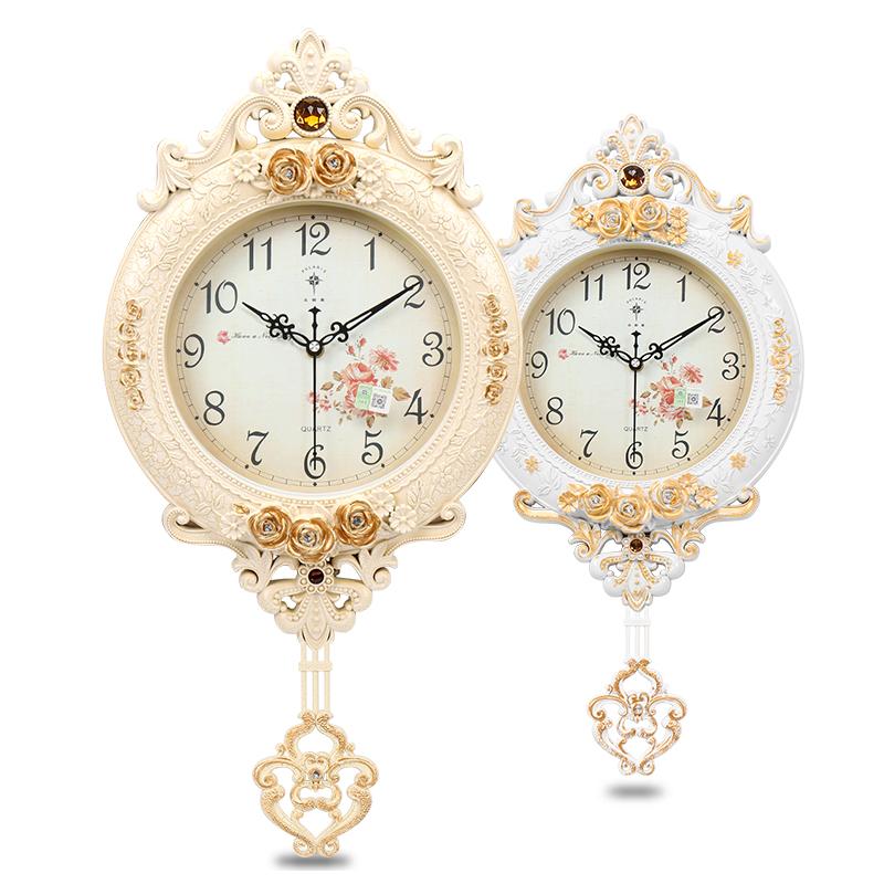 北极星客厅静音挂钟欧式创意时尚艺术石英时钟卧室壁摇摆豪华钟表