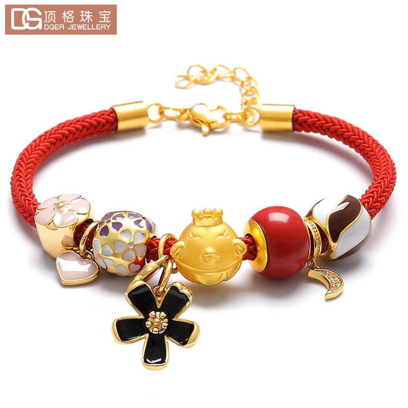 黄金足金珐琅生肖鸡红绳串珠手链路路通转运珠吊坠本命年首饰礼物