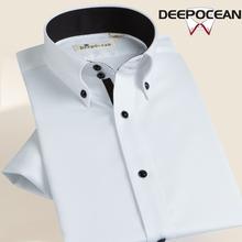 半袖 抗皱寸 韩版 男士 衬衣商务修身 短袖 夏季纯棉免烫丝光棉白色衬衫