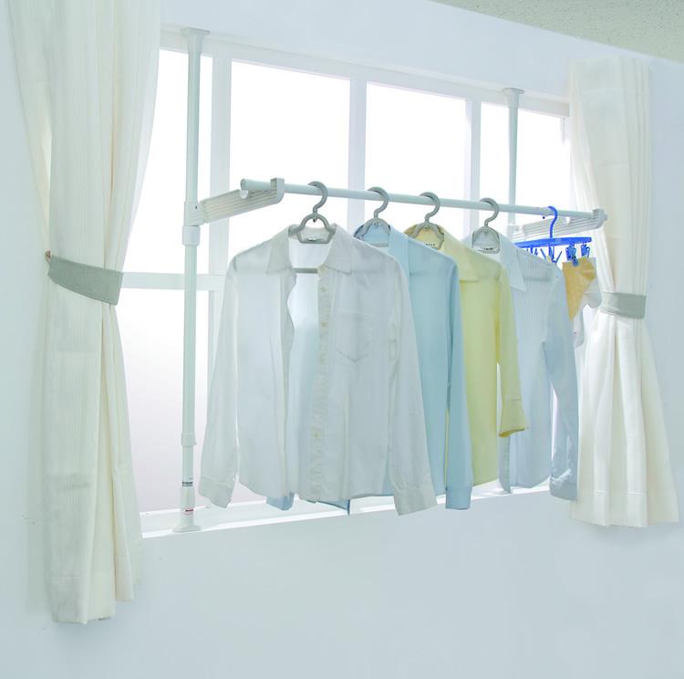 日本爱丽思IRIS 顶天立地晾衣杆窗台晾晒架落地伸缩不锈钢晾衣架