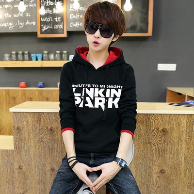 春季青少年运动外套连帽男士加绒卫衣套头韩版潮学生潮牌男生帽衫