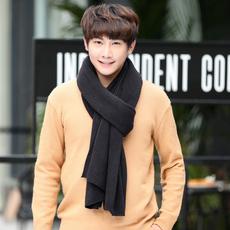 韩版纯色针织毛线围巾