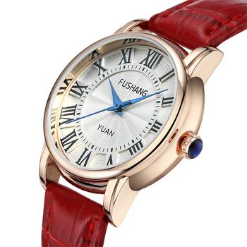 皮带时尚女士商务手表 红皮带休闲女表 气质石英时装腕表防水
