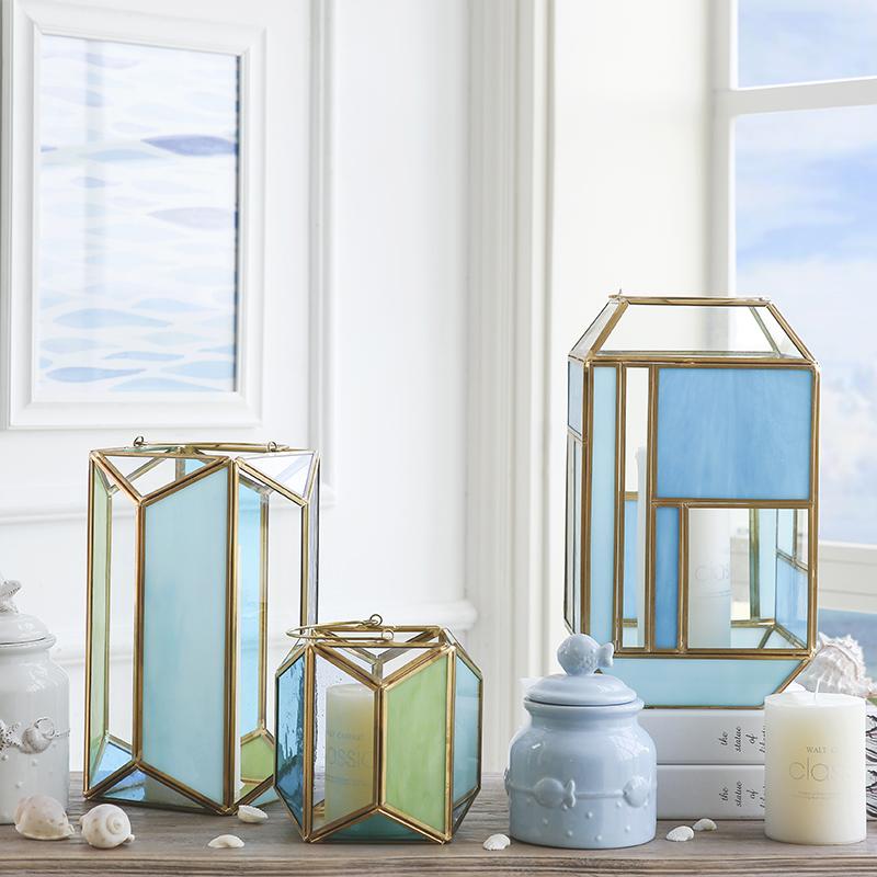 创意欧式微景观彩色玻璃花房几何金属风灯蜡烛烛台家居饰品摆件