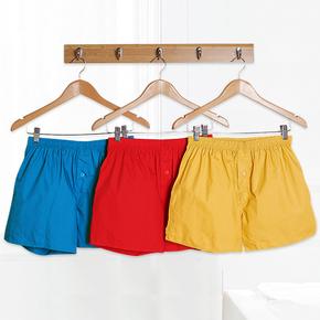 [3条装]阿罗裤 男士平角裤内裤纯棉宽松全棉睡裤大码家居短裤衩夏