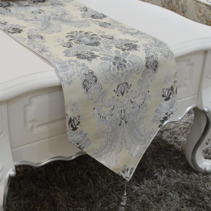 亿得佳缘欧式现代时尚银丝混纺银灰色美式餐桌旗茶几旗床旗