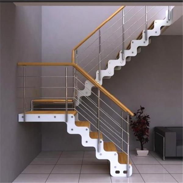 定制室内钢木楼梯阁楼复式楼梯双梁楼梯实木踏板整体楼梯直梯