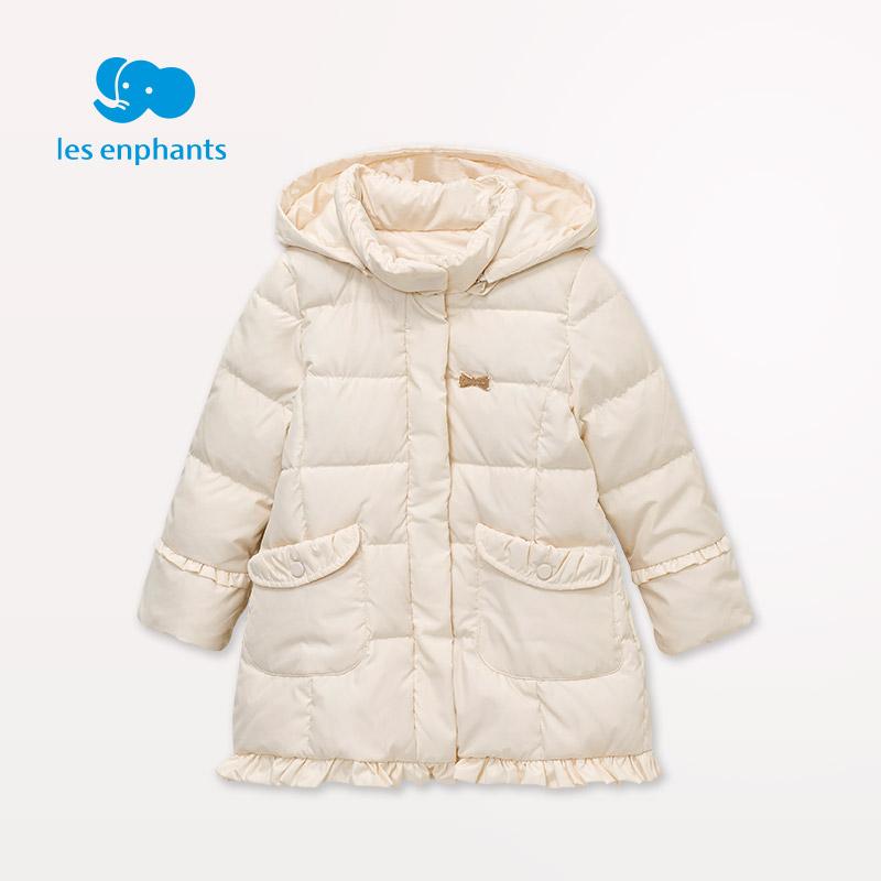 丽婴房童装 女童淑女可爱中长款羽绒外套  保暖羽绒服 2016冬新